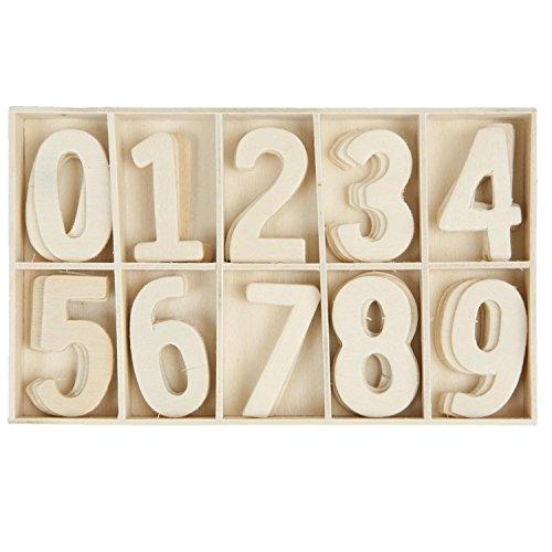 62957 Clayre & Eef - Scatola con numeri di legno - 0-9 - Naturale ca. 10 x 14 cm