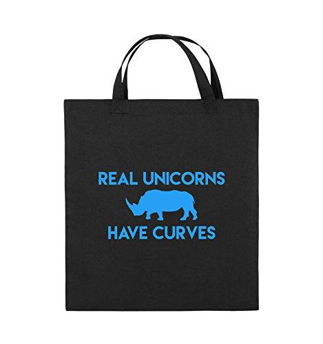 Comedy Bags - REAL UNICORNS HAVE CURVES - Jutebeutel - kurze Henkel - 38x42cm - Farbe: Schwarz / Pink Schwarz / Blau