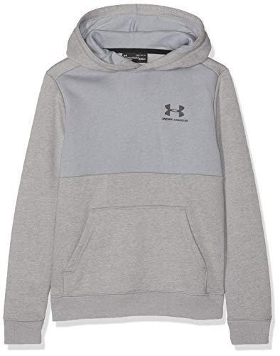 Under Armour Jungen EU Cotton Fleece Hoody Oberteil, Grau, YLG - Under Armour-fleece-hoody