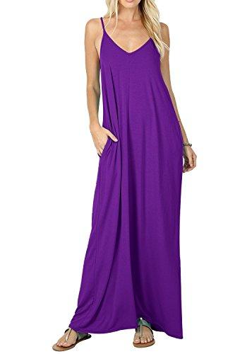 Bequemer Laden Damen Tiefer V-Ausschnitt Sexy Plain Flowy Cami Slip Tank Kleid Lange Kleider Lila L