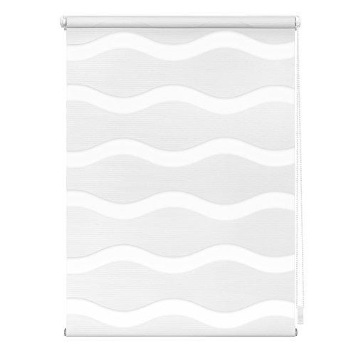 Lichtblick Doppelrollo Welle Klemmfix, 110 cm x 150 cm (B x L) in Weiß, ohne Bohren, Duo Rollo mit Jalousie-Funktion, dekorativer Sonnen- & Sichtschutz, für Fenster & Türen