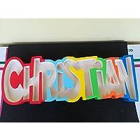 Contenitore nome porta confetti caramelle personalizzato in polistirolo party feste confettata decorazioni compleanno battesimo nascita comunione