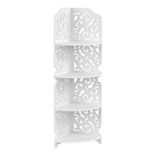 Finether weißes Regal EckregalStehregal StandregalSteckregal für Wohnzimmer Badezimmer Toilettenartikel aus WPC wasserdicht 4 Böden 22x22x80 cm