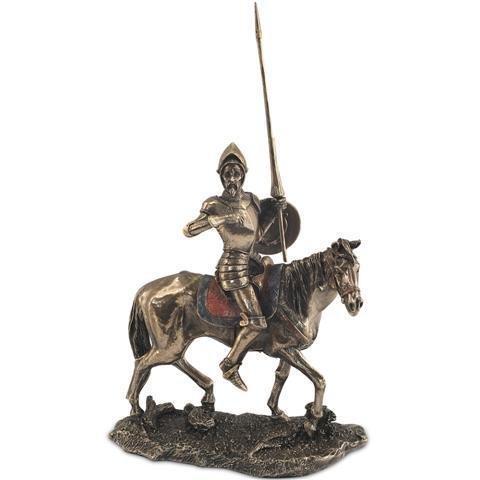 Figura Decorativa Don Quijote Caballo Resina Bronce