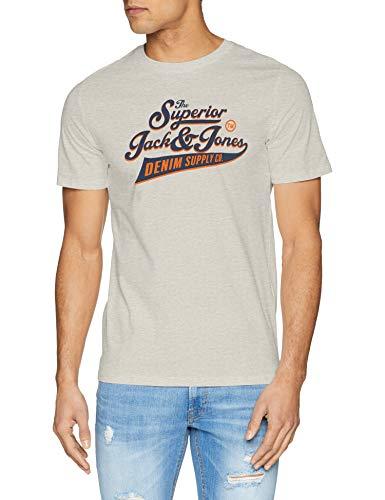 100% Baumwolle Tee (Jack & Jones NOS Herren JJELOGO Tee SS Crew Neck 2 COL SS19 NOOS T-Shirt, Grau (White Detail: Slim Fit-Melange), (Herstellergröße: XX-Large))