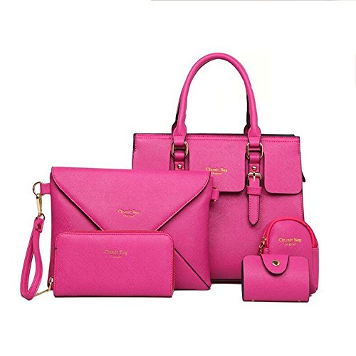 FavoMode, Borsa a mano donna nero Black Rose pink