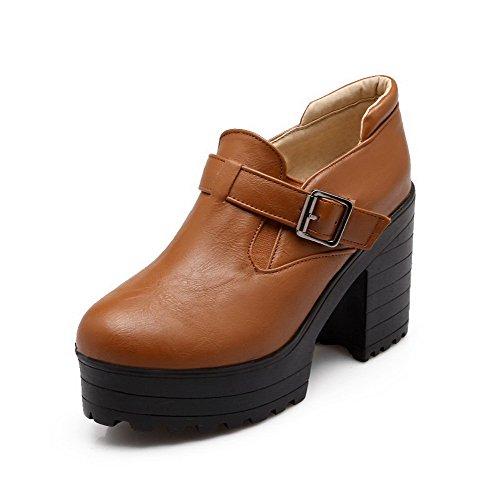 AllhqFashion Damen Ziehen Auf Pu Leder Rund Zehe Hoher Absatz Rein Pumps Schuhe Braun