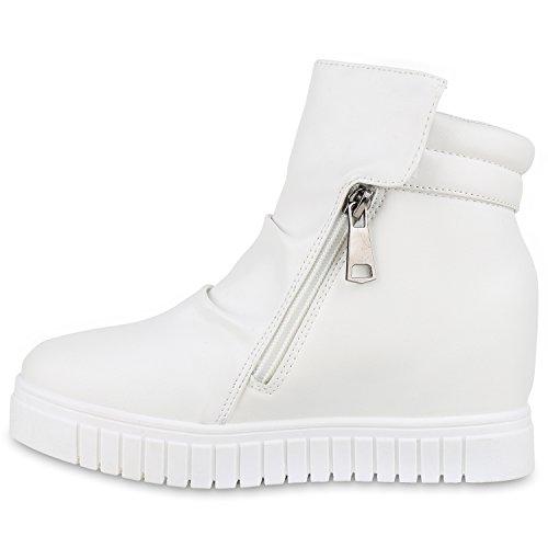 Spacige Damen Sneakers Keilabsatz Sneaker-Wedges Zipper Schuhe Weiß