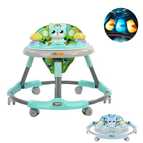 HBIAO Baby lauflernhilfe, Einstellbare Anti-Rollover-Falt-Kleinkind-Multifunktions-Gehhilfe für Kinder zwischen 6 und 18 Monaten,Green