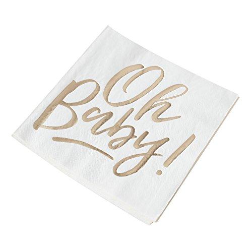 """'Tovaglioli """"Oh baby in Bianco & Gold-33X 33cm-3Veli-Tavolo a Forma di Battesimo/Baby Shower Party/Tovaglioli/NASCITA BAMBINO 48 Stück"""