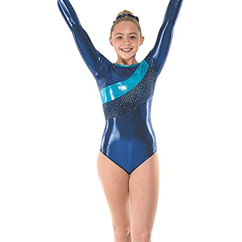Gimnasia manga larga leotardos, gimnasio desgaste azul terciopelo y lámina metálica ©