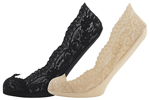 Tom Franks 2 Pack Ladies Lace Footsie Liners UK Size 4-7