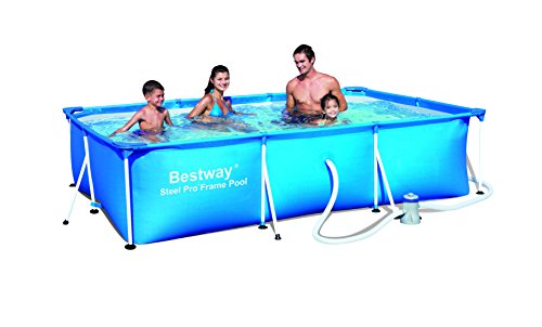 Bestway Deluxe Splash Frame - Piscina tubular con depuradora, 300 x 201 x 66 cm