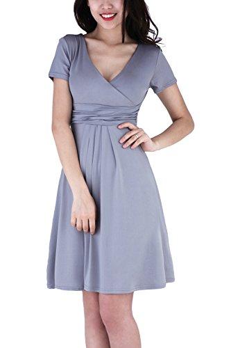 Sun Frauen Kleider Abend, WIWIQS Flared Plus Size Midi Kleid Sundress, Grau XL