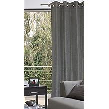 cortina visillo 140 x 235 cm polaris decoracin cortina aspecto de lino jaspeado gris - Cortinas Lino