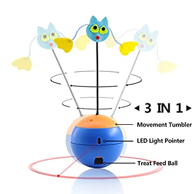 Cat Toys Interactive, LED Light Pointer, Cat Tumbler Puzzle Crazy Fun Food Leakage Ball Pet Scratching Training Tool, By Aootech