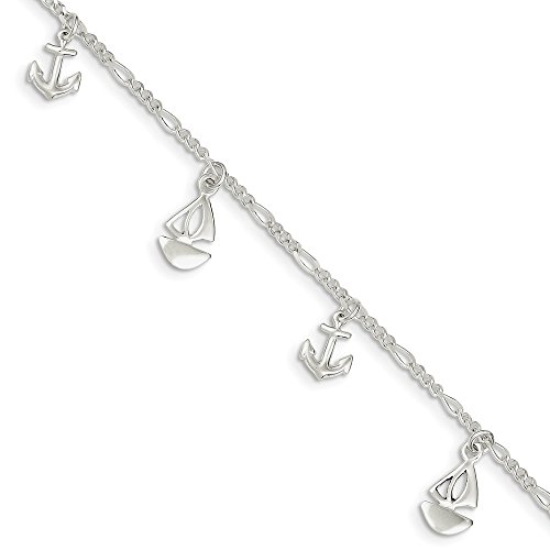 diamond2deal 925Sterling Silber Damen Poliert Boot und Anker Fußkettchen 22,9cm