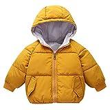 Kobay Kinder Baby Mädchen Jungen Mit Kapuze Brief Banana Drucken Plus Samt Dicke Warme Winter Daunenjacke Baumwolle Mantel(2-3T,Gelb)