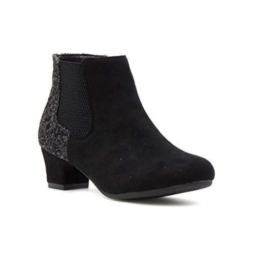 Lilley Girls Black Glitter Heeled Ankle Boot - Size 4 - Black