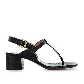 L'Autre Chose Women's Shoes Black Cracklé Thong Sandal Spring Summer 2018
