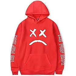 ShallGood Unisex Sudadera con Capucha 2018 Lil Peep Rapper Harajuku Hip Hop Spring Sudadera con Capucha Hombres Mujeres Estampado Ropa EMO Rap Cool Street Hoodie Sweatshirt Rojo 2X-Large