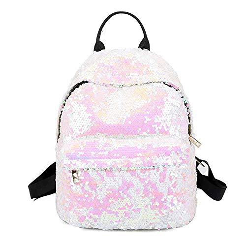 Mode Mädchen Pailletten Rucksack, Schultasche Reise Umhängetasche Daypacks Für Outdoor Sports Schulrucksäcke (Weiss)