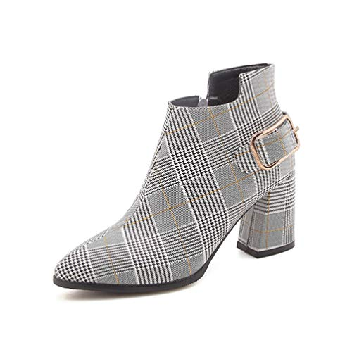 Frauen Boots Fashion Plaid Pointed Toe High Heels Female Sexy Herbst Winter Ankle Boots -