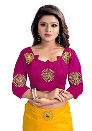 Kuvarba Fashion Paper Silk Embroidered Saree with blouse piece (Yellow)