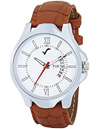 WRIGHTRACK Analogue Men's Watch (White Dial Brown Colored Strap)