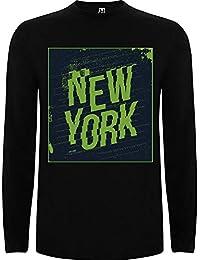 Lilij Camiseta Hombre Manga Larga New York Big City Urban Blanco