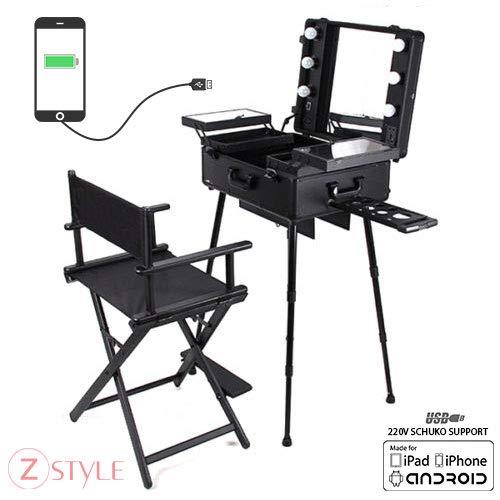 Arbeitsplatz Trolley Make Up Make-up Spiegel Beleuchtung Koffer Beauty Case Nail Art + Stuhl Sessel Regisseur aus Holz - - Regisseur Stuhl