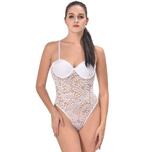 Sexy Body Lingerie Erotische Unterwäsche, Sexy Spitze Overall Streifen Stahl Brustpolster Nachthemd Weiß_5Xl -