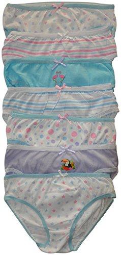 Mädchen Unterwäsche - gemusterte Baumwollunterhosen in Geschenkverpackung (7 Stück) (2-3-jährige (Größe: 86-92cm, Taille: 54-56cm)) (Option 1) (Größen Mädchen Unterwäsche)