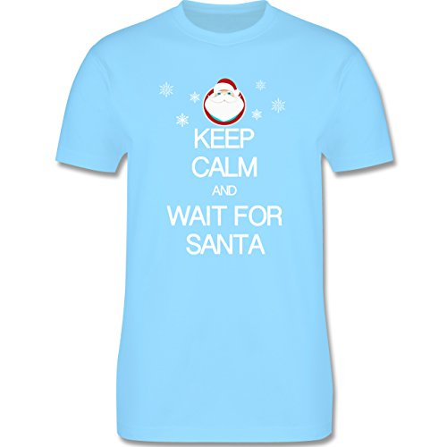Keep calm - Keep calm and wait for Santa - Herren Premium T-Shirt Hellblau