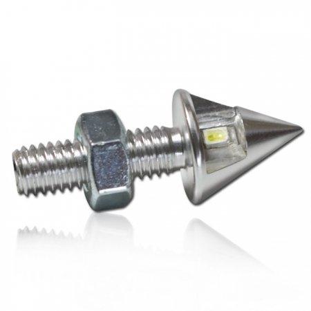 LED-Leuchtschraube, silber, Alu, M8, konisch,