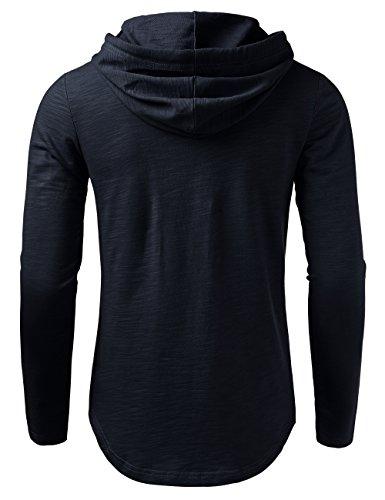 HEMOON Herren Basic Kapuzenpullover Hoodie Sweatshirt Dunkelblau