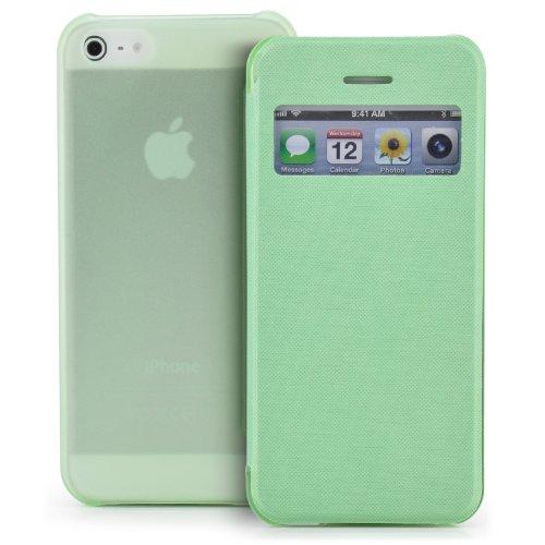 Saxonia Tasche Apple iPhone 5C Hülle Case Schutzhülle Flip View Cover mit Fenster und Kameraschutz Grün (Iphone 5c Flip Cover Mit Fenster)