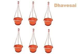 Dhavesai Hanging Pot/Planters, Brown ( Set of 6)