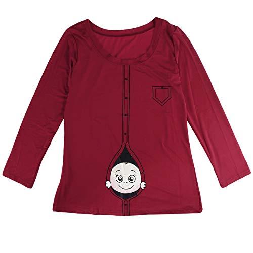 BESTOYARD Frauen T-Shirt Mode Frühling Sommer Große Größe Schwangere Frauen Langarm Lustige Cartoon Baby Staring Mutterschaft Bluse Größe M ()