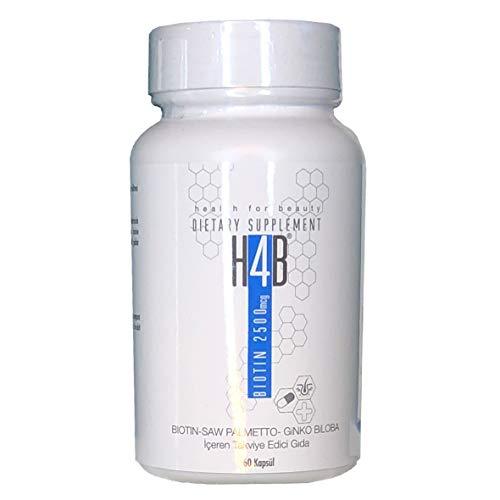 6 X H4B Biotin Kapseln (wie Abbildung) Testsieger 1 Jahres Kur Hochdosiert 2500mcg 360 Kapseln VOR und NACH Haartransplantation Vitamine Anti Hairloss Gegen Haarausfall Frau und Mann H4 B