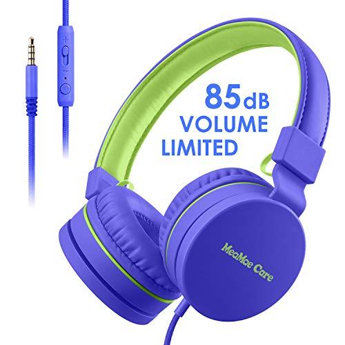 Kinder Kopfhörer, MeaMae Care Kinderkopfhörer mit Zusammenfaltbares Design, Lautstärkebegrenzung bis 85dB, Verstellbares Bügel, Mikrofon, Kinder Leichtkopfhörer für Handy ipad Laptops PCs(Blau)