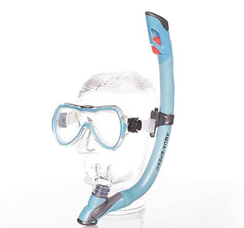 AQUA-SPEED® ENZO + EVO Schnorchel-Set für Kinder (Schnorchel + Taucherbrille Soft-Silikon Anti-Fog UV-Schutz Panorama) + UP®-Schlüsselband