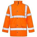MyShoeStore® Hi Vis Viz High Visibility Parka Jacket Workwear Safety Security Concealed Hood Fluorescent Flashing Hooded Padded ¾ Length Waterproof Work Coat Orange X-Large