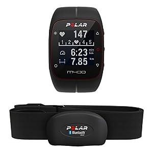 Polar M400 HR - Pulsometro y reloj de entrenamiento con GPS integrado y registro de actividad con sensor de frecuencia cardíaca H7, color negro