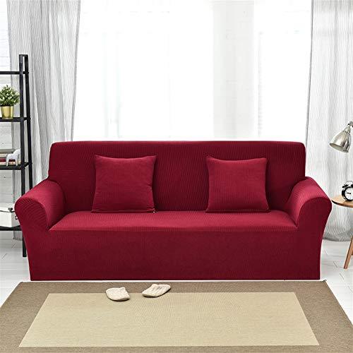 Ommda copridivano antiscivolo jacquard in tessuto elastico copridivano sofa salotto protettore imbottito mobili copertura 3 posto 190-230cm profondo rosso