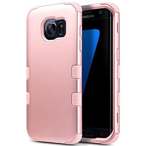 ULAK - Custodia Galaxy S7 Edge , Samsung Galaxy S7 Edge Cover Custodia ibrida a 3 strati in silicone a prova di collisione per Samsung Galaxy S7 Edge (Oro rosa)