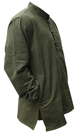 Shopoholic Fashion Unisex hellgrau Hanf Baumwolle Hippy Großvater Shirt Grün