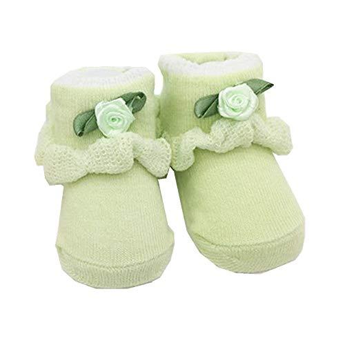 Chennie 1 Paire Nouveau-né Infantile Coton Confortable antidérapante Fleur bébé Chaussettes Bottes Chaussures 0-6 Mois (Color : Green, Size : 0-6 Months)
