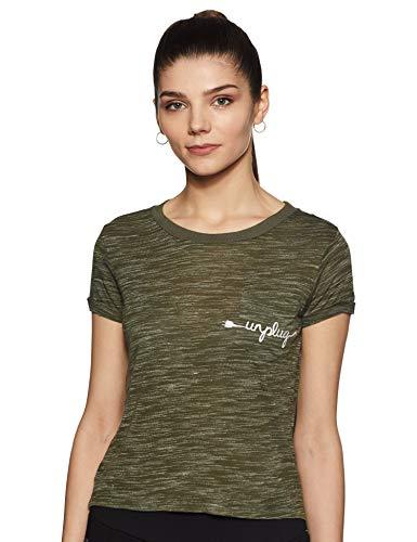 Flying Machine Women's Animal Print Regular Fit T-Shirt (FWTS1320_Olive_Small)