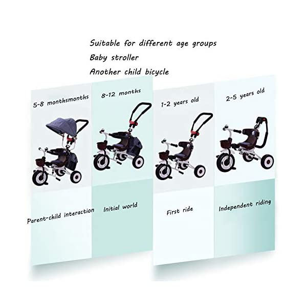 BGHKFF 4 In 1 Childrens Folding Tricycle 5 Months To 5 Years Silent Blockable Rear Wheels Childrens Tricycles Folding Sun Canopy Push Handle Child Trike Maximum Weight 60 Kg,Blue BGHKFF ★ 4-in-1 multi-function: convertible into stroller and tricycle. Remove the guardrail and awning as a tricycle. ★Material: Thick carbon steel, suitable for children from 5 months to 5 years old, maximum weight: 60 kg ★ Tricycle foldable, space saving, easy to carry, great gift: perfect gift for children's birthday or Christmas. Easy to assemble When you don't use it, you can fold it and store it in any corner. 3